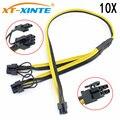 10x PCI-E PCIE 6Pin к двойному 8Pin 6 + 2Pin Адаптерный кабель Графический графический кабель питания модуль разделительный провод 16AWG для майнинга