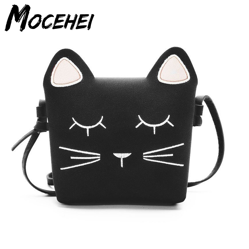 Child Handbag Cat Sweet Cute PU Leather Children Fashion Multi Color Kids Gift Teenagers Shoulder Bags Sac A Main Femme LY103 pu leather metal multi zips handbag