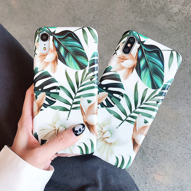 Hot Art Flowers & Banana Leaf Phone Case For iPhone 12 Mini 11 Pro Max XR XS Max 6 7 8 Plus X  Soft IMD Phone Back Cover Cases 3