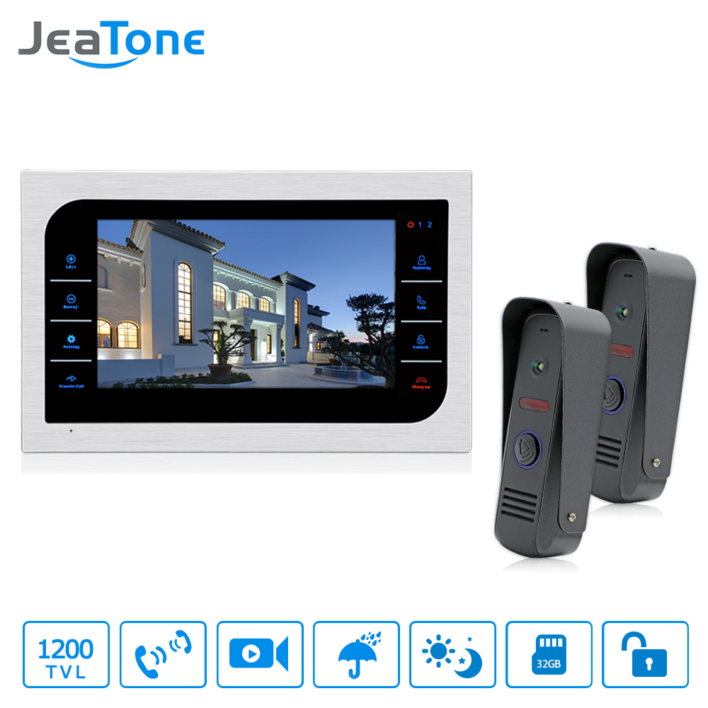 Jeatone 10 Video Intercom 2 Ir Night Vision Door Cameras Hd Diagram Camera Wiring Cctv 1200tvl With Wired Phone System Visitor Can Use Call Panel Calls Then You Indoor Monitor Unlocking Monitoring