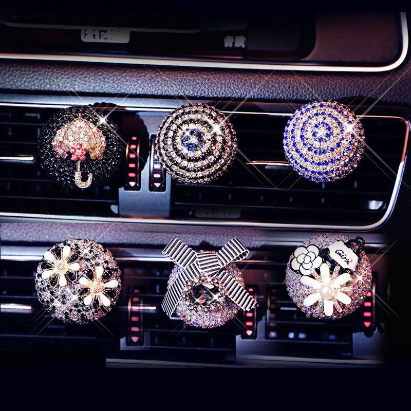 Diamond Bling Car Air Freshener Flower Vent Clip Auto Interior Decor Car Smell Car Aroma Diffuser Scent Car Accessory For Girls