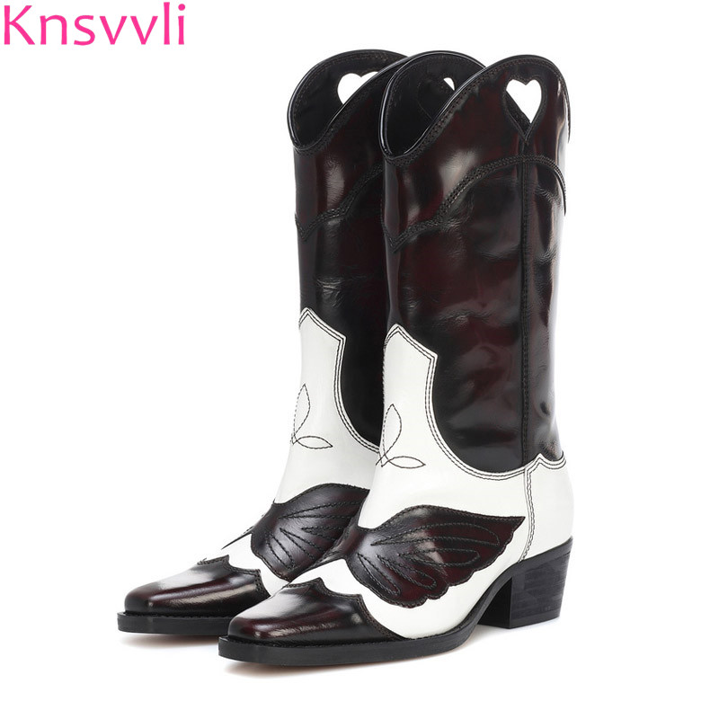Cut outs love mixed color chunky heel woman boots fashion ladies shoes embroidery wing genuine leather chelsea boots womenCut outs love mixed color chunky heel woman boots fashion ladies shoes embroidery wing genuine leather chelsea boots women