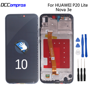 Original For Huawei P20 Lite LCD Display Touch Screen Digitizer With Frame Phone Parts For Nova 3e Screen LCD Display Free Tools for huawei p20 lite usb plug charger board microphone module cable connector for huawei nova 3e digitizer phone parts repair kit