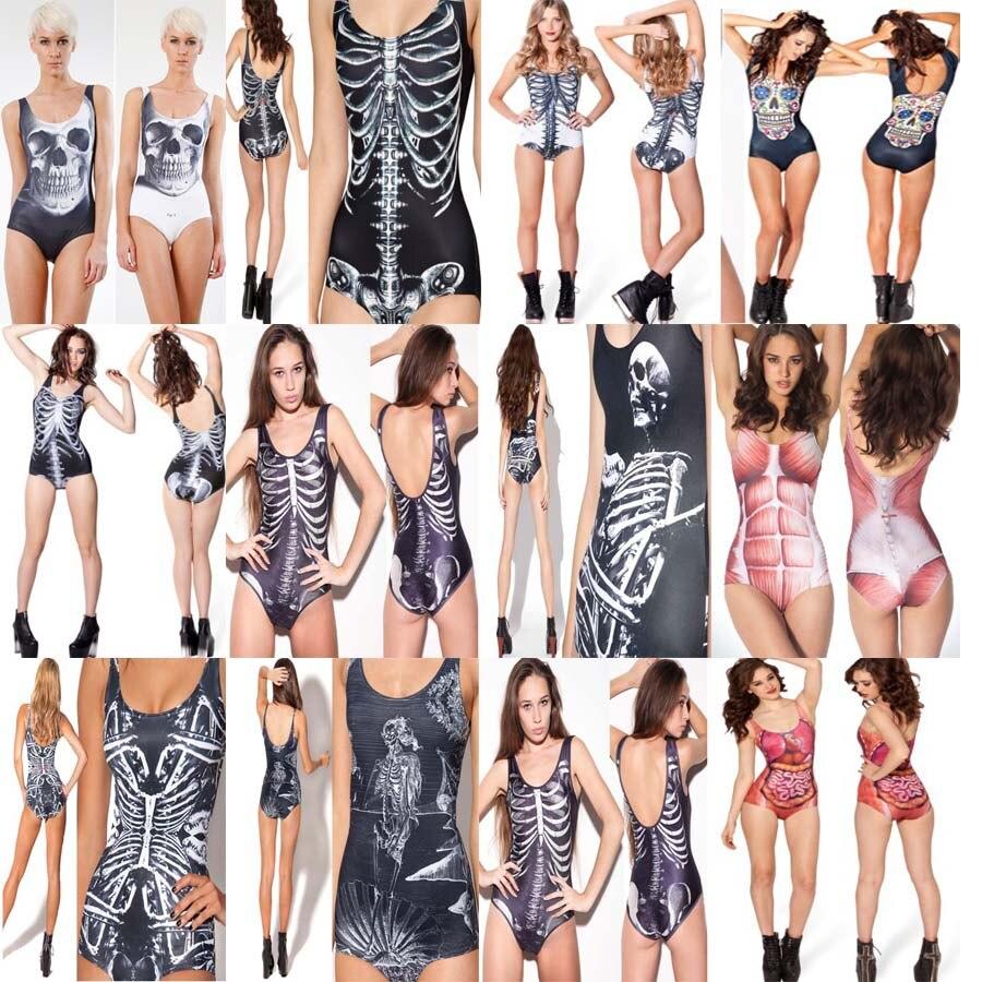 Kophia 2018 Big Sale Sexy Bathing Suit Monokini Swimsuit One Piece Women Swimwear Doodle Print Bodysuit Bone Pattern Beach W