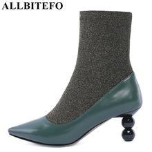 ALLBITEFO tamanho: 33-43 genuíno couro + Estiramento tecidos mulheres botas marca de moda botas de salto alto tornozelo mulheres botas femininas