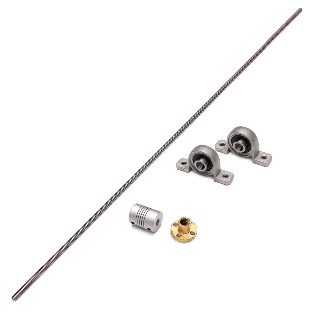 цены T8 8mm Lead screw 1000mm  + Brass Copper Nut + Bearing Bracket +Flexible Coupling For 3D Printer CNC