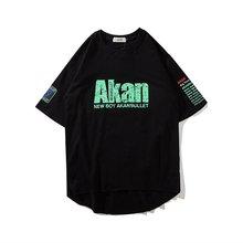 Street Fashion Men Short Tshirtbrand Hip Hop Half Sleeve Tshirt  Ins Loose Wind Letter Print O-neck Plus