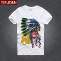 YiRuiSen Short Sleeve T Shirt Men 2016 Fashion Summer Brand Clothing 100% Cotton American Style Print  T-shirt  Tops Tees D001a