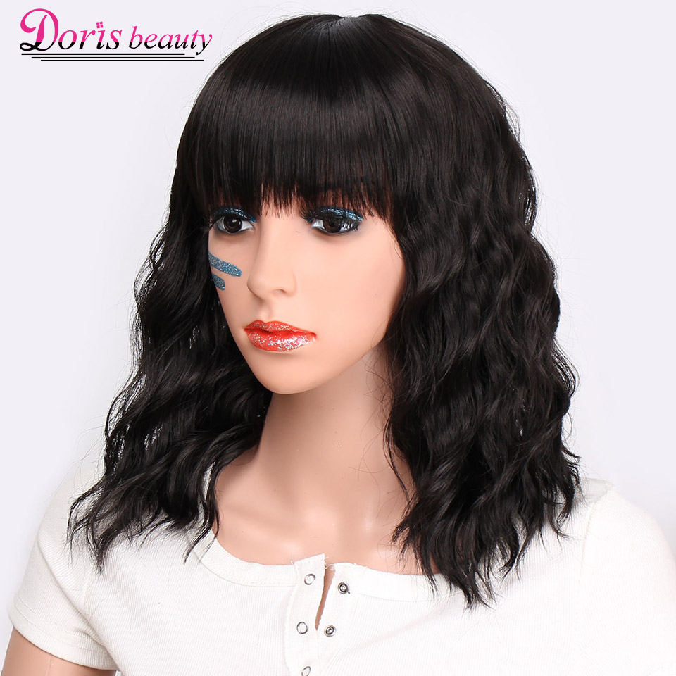 Doris Beauty Synthetic Black Short Wigs For Women With Bangs Natural Hair Wavy Short Wig Heat Resistant Fiber