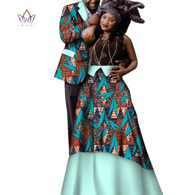 640677ec1 Fashion African Couple Wedding Clothing Dashiki Women Skirt & Men shirt for  Lovers Casual loose Traditional Clothing WYQ201