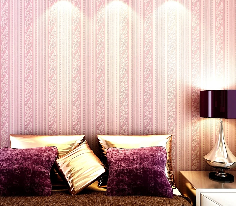 Bedroom Wallpaper Christmas Home Decorates Stripe Style Yellow Gray Black Pink Color Wall Paper Roll In Wallpapers From