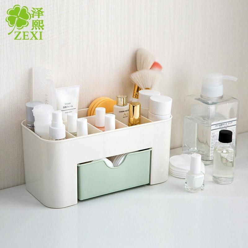 1Pcs Plastic Cosmetic Storage Box Multifunction Jewelry Makeup Tool Office Desktop Organizer Case Storage Box 3 Colors