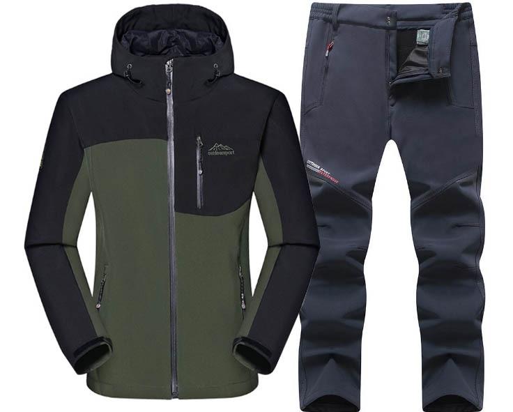 DIRENJIE Man Winter Waterproof Trekking Fleece Jacket Pants Fishing SoftShell Outdoor Hiking Travel Camping Jacket Trousers 2PCS in Hiking Jackets from Sports Entertainment