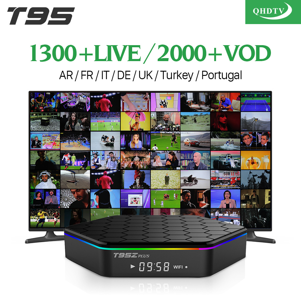 T95Zplus Smart Android TV Box S912 QHDTV French IPTV Subscription Europe Arabic Italia Germany Spain Turkey UK IPTV TV Box