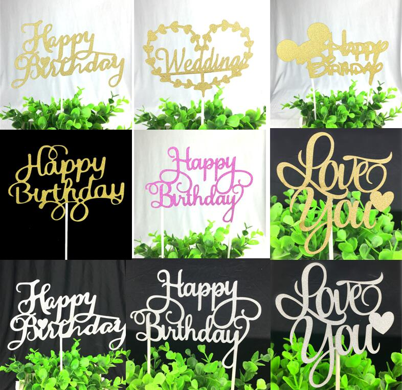 1 unid Happy Birthday Cake Toppers Multi Colors Cake Flag Love Wedding Party Cake Decoration Supplies Venta caliente