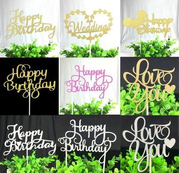 1pc Happy Birthday Cake Toppers Multi Colors Flag Love Wedding Party Decoration Supplies Hot Sale