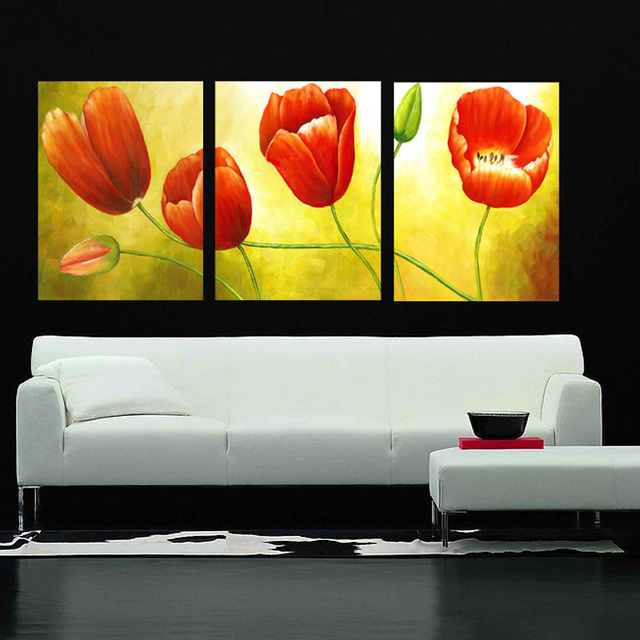 3 Piece Set Tulip Vans Canvas Painting Modern Flower Canvas Prints Wall Art  For Living Room