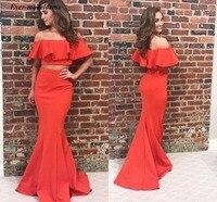 Modest Two Pieces Prom Dresses 2019 Off Shoulder Mermaid Sweep Train Coral Evening Party Gowns Vestidos de fiesta de noche Cheap