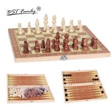 Bstfamly 3 в 1 деревянный Шахматный набор, портативные игровые международного шахматы, шашки нарды три вида игры шахматы, I1