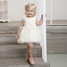 2018 New adorable toddler baby girls party dress Top quality kids lace mesh lovely bow tutu 12m-5y children clothes summer