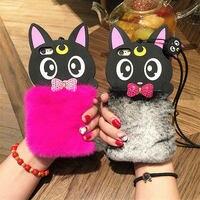 IPhone 6 6 S 7 8 Artı X Lüks Moda Sevimli peluş Karikatür Kedi Telefon kılıfı Taklidi yay Tavşan Kürk kordon yumuşak kabuk