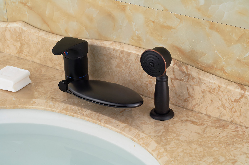 Waterfall Spout Oil Rubbed Bronze Bathroom Tub Faucet 3 PCS Sink ...
