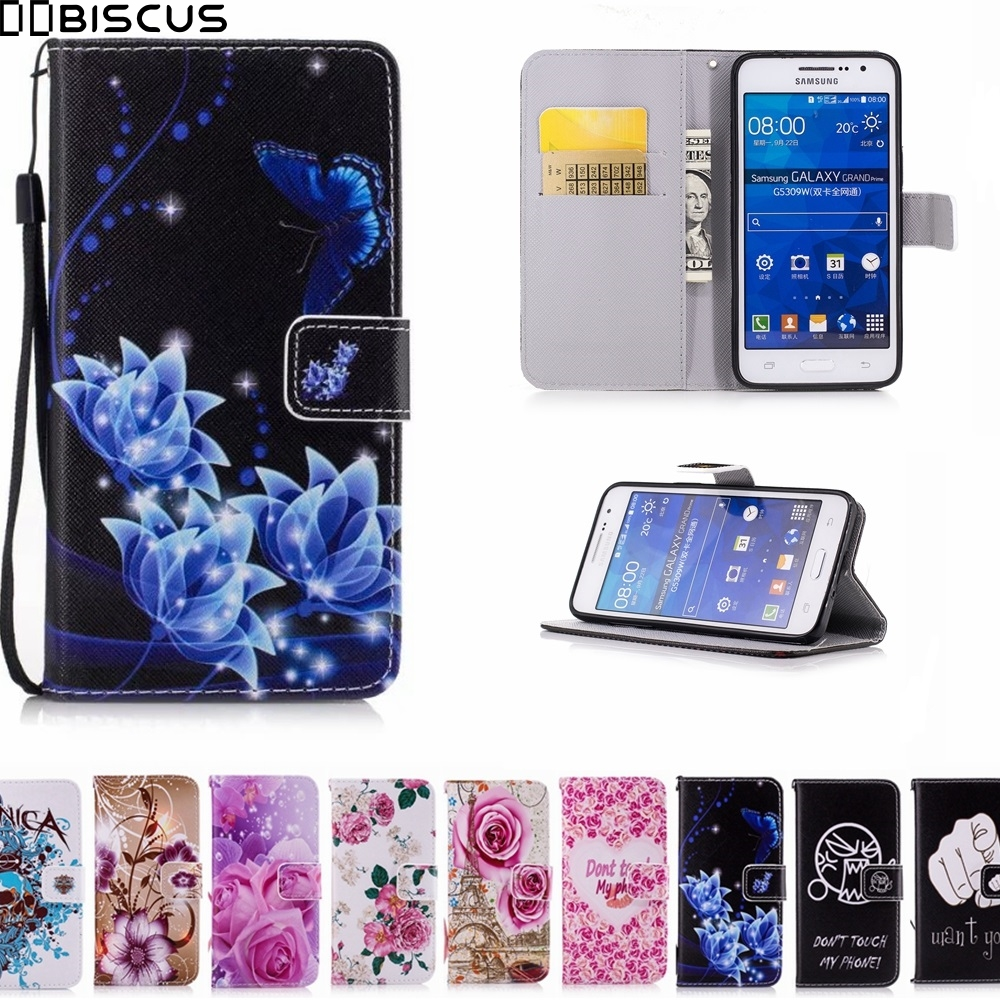 Leather Flip Wallet Soft TPU Case For Samsung Galaxy Grand Prime Cases SM G530H G530F G531F G531H G531F/DS G531H/DS Phone Cover