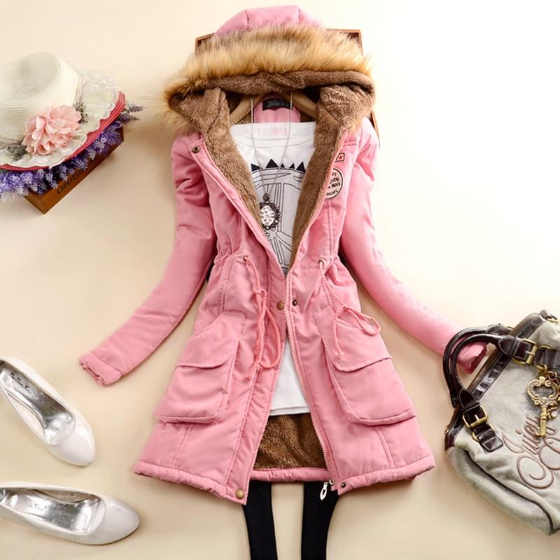 Fashion Autumn Warm Winter Jackets Women Fur Collar Long   Parka   Plus Size lapel Casual Cotton Womens Outwear Park