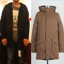 Long  thick coat men down coat cotton padded jacket Slim Long Hooded A024