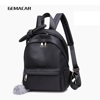 Fashion Ladies Shoulder Bag Hair Ball Zipper Nylon Cloth Waterproof Backpack Cute Long Shoulder Bag Casual Bag Student Shopping