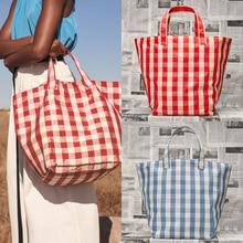 2018 New Tide Brand Simple Check Plaid Wild Joy Tote Bag Lar