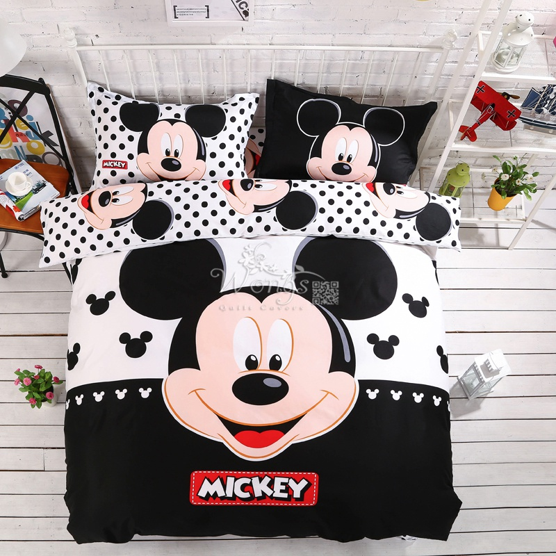 Home textiles 100 cotton adult kids Boys Disney mickey mouse 3d bedding set Queen King size
