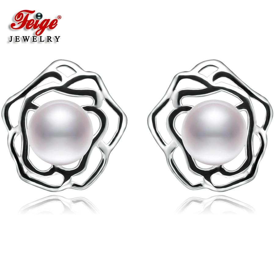 Blume Reine 925 Sterling Silber Ohrringe für Dame Party Schmuck 7-8 - Edlen Schmuck - Foto 1