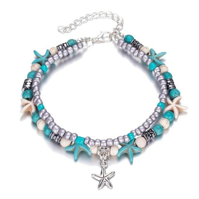 Iparam nova moda retro bohemia redondo runa estrela do mar tornozeleira praia pés jóias simples puxar grânulos bobo pulseira de tornozeleira para mulher