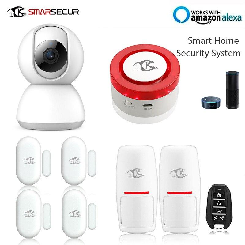 Alarme sans fil sirène détecteur de mouvement système de sécurité application ios et android contrôle compatible avec alexa google maison