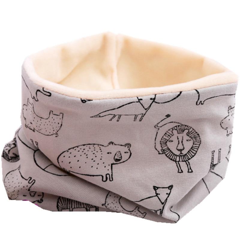 Осенне-зимний детский хлопковый плюшевый шарф, детский шарф для девочек, шарфы для мальчиков и девочек, детский воротник, детский волшебный шейный платок с круглым вырезом - Цвет: gray lion