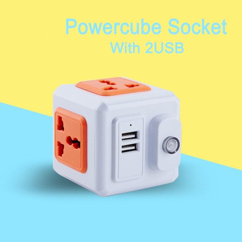 Mini Wall Socket PowerCube Portable Socket,Universal Plug Wall Plug Socket With 4 Outlets Adapter 2USB 250V 10A For Home/Office