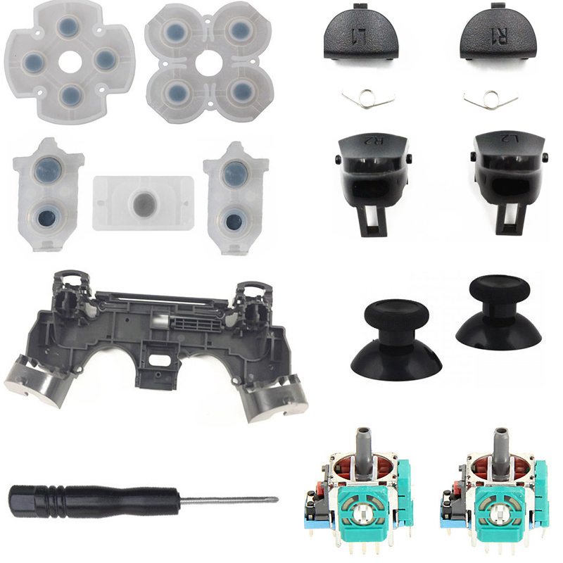 For PS4 Pro JDM 040 V2 Controller Repair Set L1 R1 L2 R2 Trigger Buttons 3D Analog Joysticks Thumb Sticks Cap Conductive Rubber