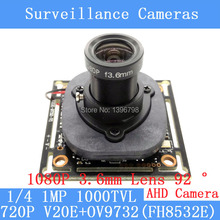 720P AHD 4in1 1000TVL V20E+OV9732 CCTV Camera Module 1080P 3.6mm Lens Video surveillance cameras IR-CUT dual-filter switch