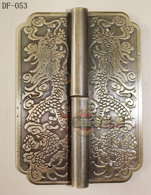 Chino de bronce antiguo de cobre bisagra Diao longitud 8 CM