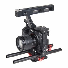 лучшая цена DSLR Camera Cage Support Video Stabilizer Rig With 15mm Rod System For Sony ILCE-7 Series A7 A7II A7s A7r A7RII Panasonic GH4