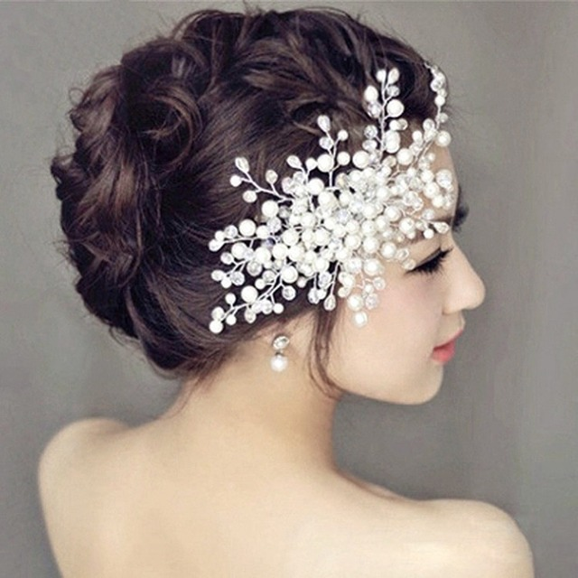 Pinksee Elegant Tiara Bridal Wedding Hair Comb Simulated Pearls Crystal Rhinestone Leaf Flower Hairpin Party Prom
