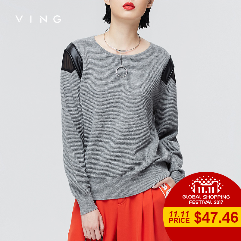 VING 2017 Autumn New Micro Warheads Sweater Solid Color Female Patchwork Long Sleeved Loose Tops