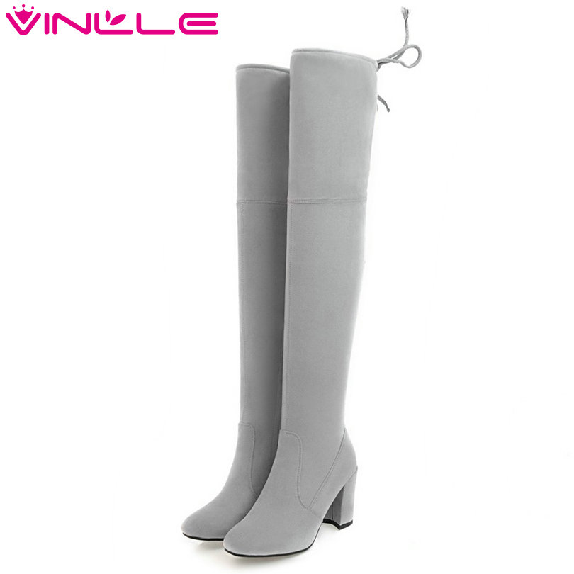 VINLLE 2018 Women Boots Over The Knee Boots Square High Heel  Flock Elastic band Slim Legs Ladies Motorcycle Shoes Size 34-43 2018 sexy black flock square high heel fashion woman over the knee boots women shoes ladies motorcycle boots size 34 43