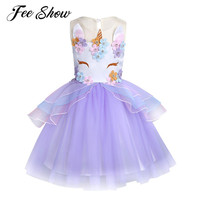 6M 10 Years Girls Dress Unicorn Embroidery Flower Beading Gauzze Princess Dress Kids Clothes Baby Party