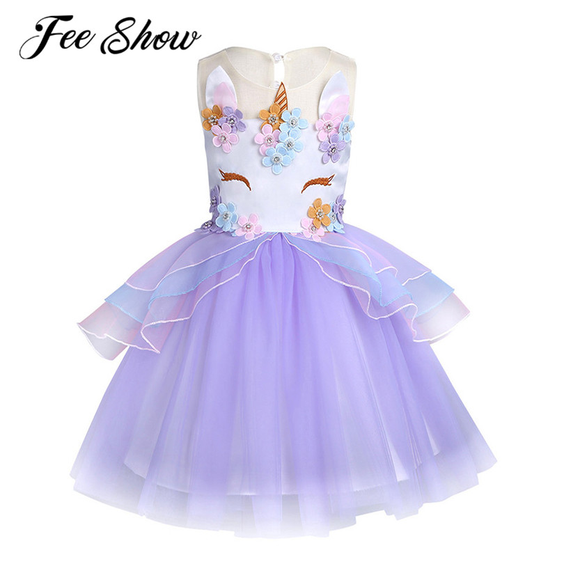 Fancy Kids Tulle Dress for Girls Embroidery Ball Gown Baby Flower Girl Princess Dresses Wedding Party Costum 6M-10 Years 2018 kids summer unicorn dress for girls embroidery flower ball gown baby girl princess dresses for party unicornio costumes