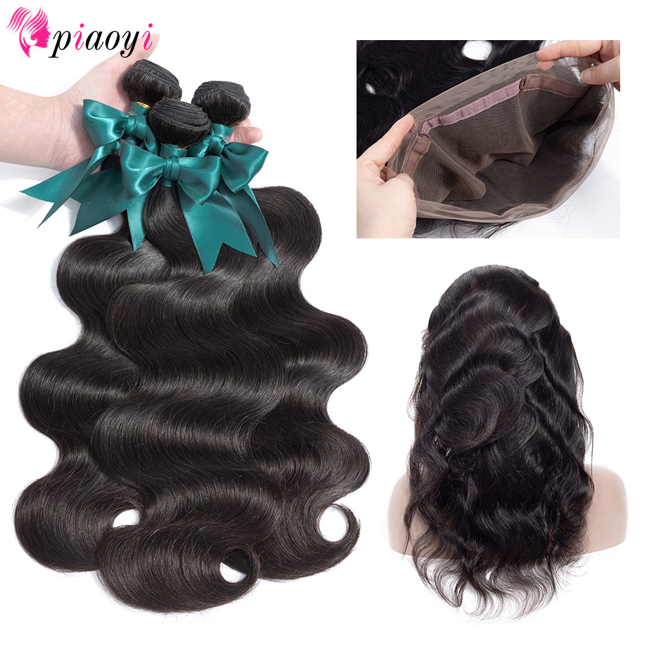 Remy Piaoyi Hair Pre Plucked 360 Lace Frontal With Bundles Body Wave Brazilian Human Hair Weave 3 Bundles With Frontal Closure-in 3/4 Bundles with Closure from Hair Extensions & Wigs    1