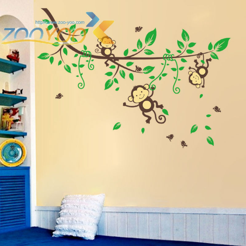 Monkey wall stickers for kids room home decor zooyoo1205 for Wall stickers for kids room