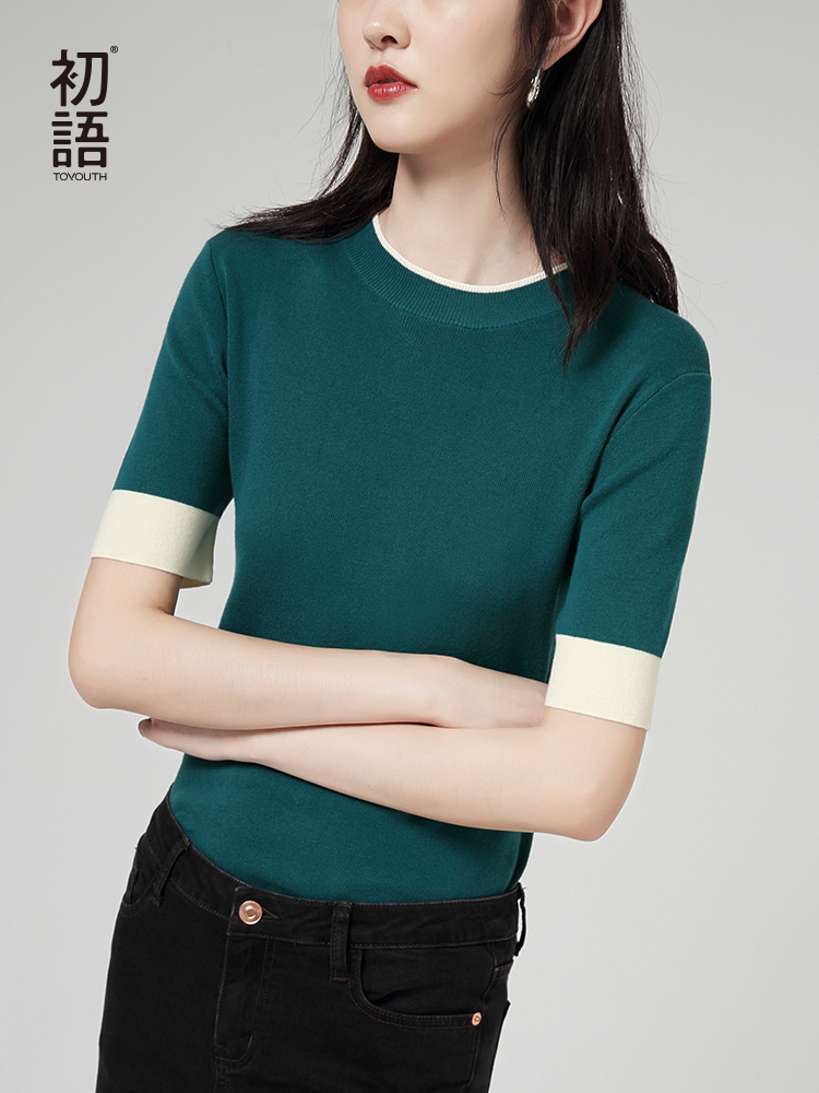 Toyouth Knitwear Autumn New Women Solid Color Short Sleeve Contrast Color Slim Basic Female Tops