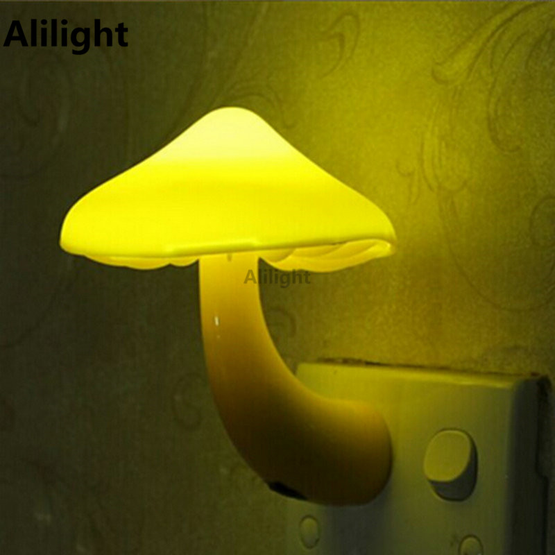 EU Plug Wall Socket Night Light Lovely Cute Yellow Mushroom LED Lamp Living Room Baby Decor Indoor Lighting